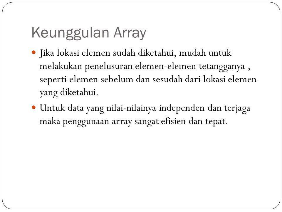 Keunggulan Array Jika lokasi elemen sudah diketahui, mudah untuk melakukan penelusuran elemen-elemen tetangganya, seperti elemen sebelum dan sesudah d