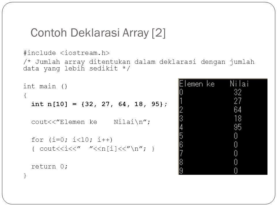 Contoh Deklarasi Array [2] #include /* Jumlah array ditentukan dalam deklarasi dengan jumlah data yang lebih sedikit */ int main () { int n[10] = {32,