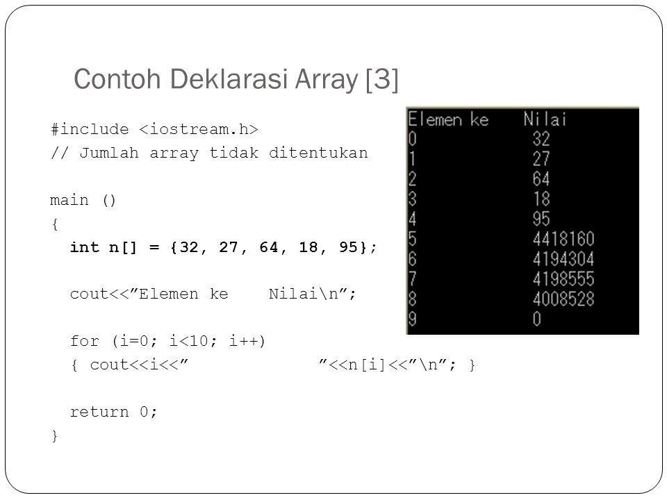 "Contoh Deklarasi Array [3] #include // Jumlah array tidak ditentukan main () { int n[] = {32, 27, 64, 18, 95}; cout<<""Elemen ke Nilai\n""; for (i=0; i<"