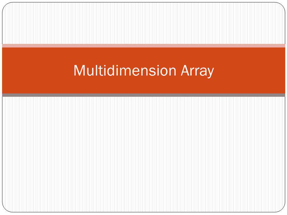 Multidimension Array