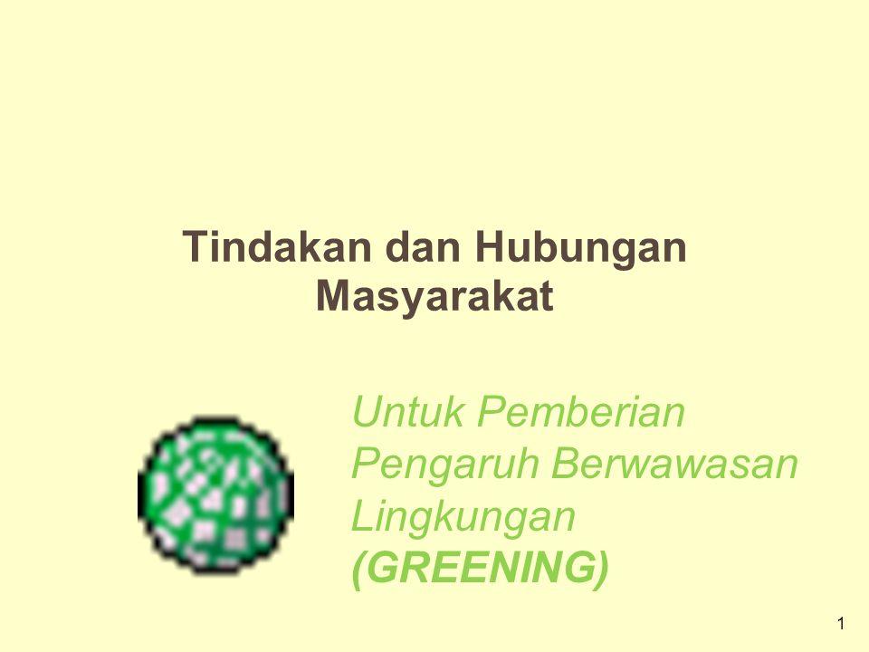 1 Tindakan dan Hubungan Masyarakat Untuk Pemberian Pengaruh Berwawasan Lingkungan (GREENING)