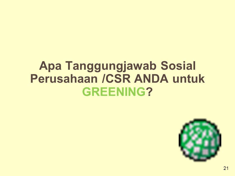21 Apa Tanggungjawab Sosial Perusahaan /CSR ANDA untuk GREENING