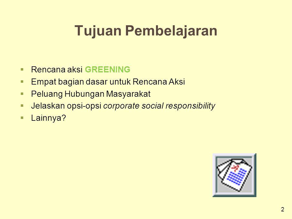 2 Tujuan Pembelajaran  Rencana aksi GREENING  Empat bagian dasar untuk Rencana Aksi  Peluang Hubungan Masyarakat  Jelaskan opsi-opsi corporate social responsibility  Lainnya