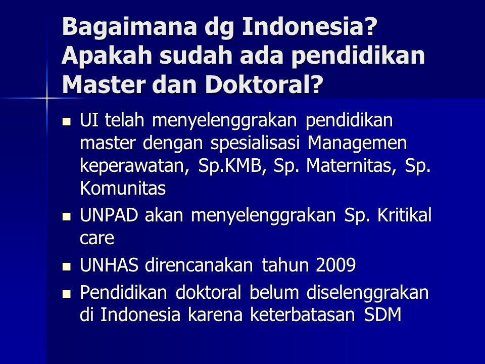 Bagaimana dg Indonesia? Apakah sudah ada pendidikan Master dan Doktoral? UI telah menyelenggrakan pendidikan master dengan spesialisasi Managemen kepe
