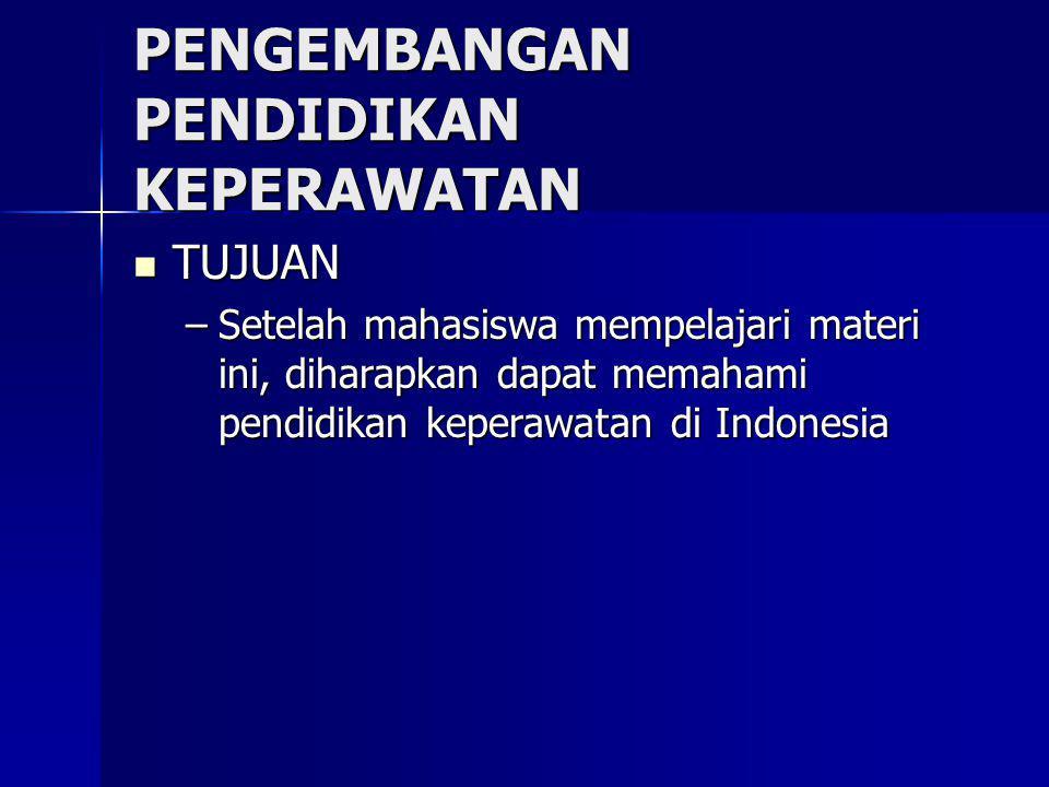 Pendidikan Keperawatan Jenjang pendidikan keperawatan di Indonesia saat ini adalah: Jenjang pendidikan keperawatan di Indonesia saat ini adalah: –Sekolah Perawat Kesehatan (SMK) –Akademi atau Pendidikan Ahli Madya Keperawatan –Program Studi Ilmu Keperawatan –Program master –Program doktor keperawatan (belum diselenggrakan)