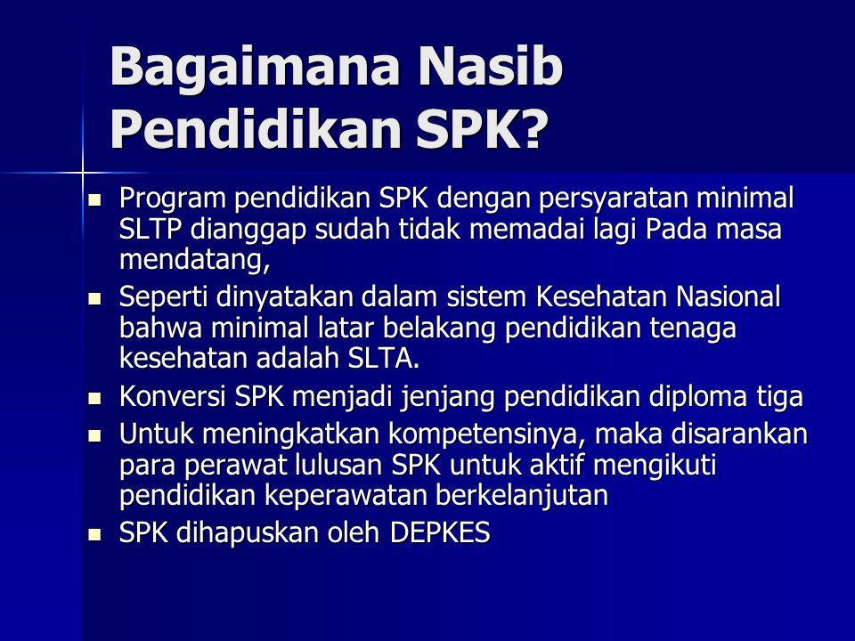 Bagaimana Nasib Pendidikan SPK? Program pendidikan SPK dengan persyaratan minimal SLTP dianggap sudah tidak memadai lagi Pada masa mendatang, Program