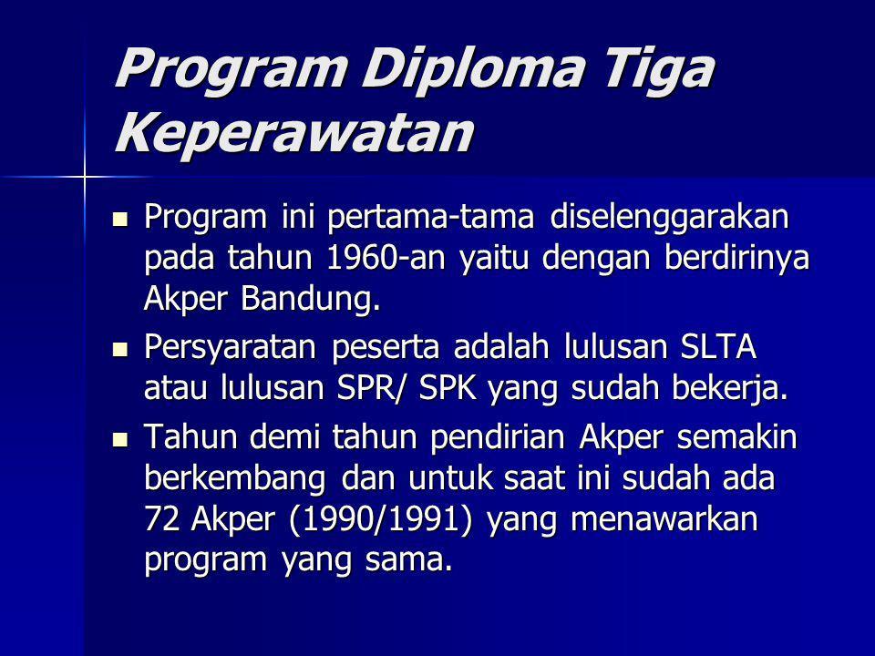 Program Diploma Tiga Keperawatan Program ini pertama-tama diselenggarakan pada tahun 1960-an yaitu dengan berdirinya Akper Bandung. Program ini pertam