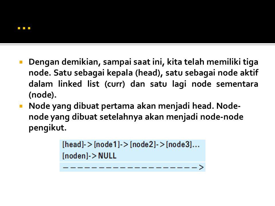  Dengan demikian, sampai saat ini, kita telah memiliki tiga node.