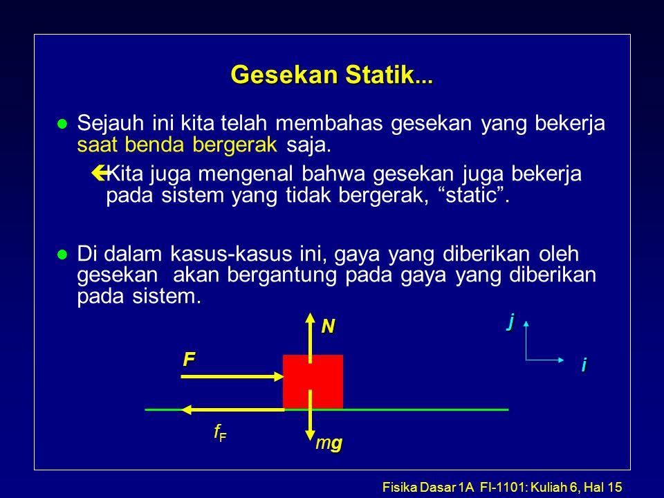 Fisika Dasar 1A FI-1101: Kuliah 6, Hal 15 Gesekan Statik...