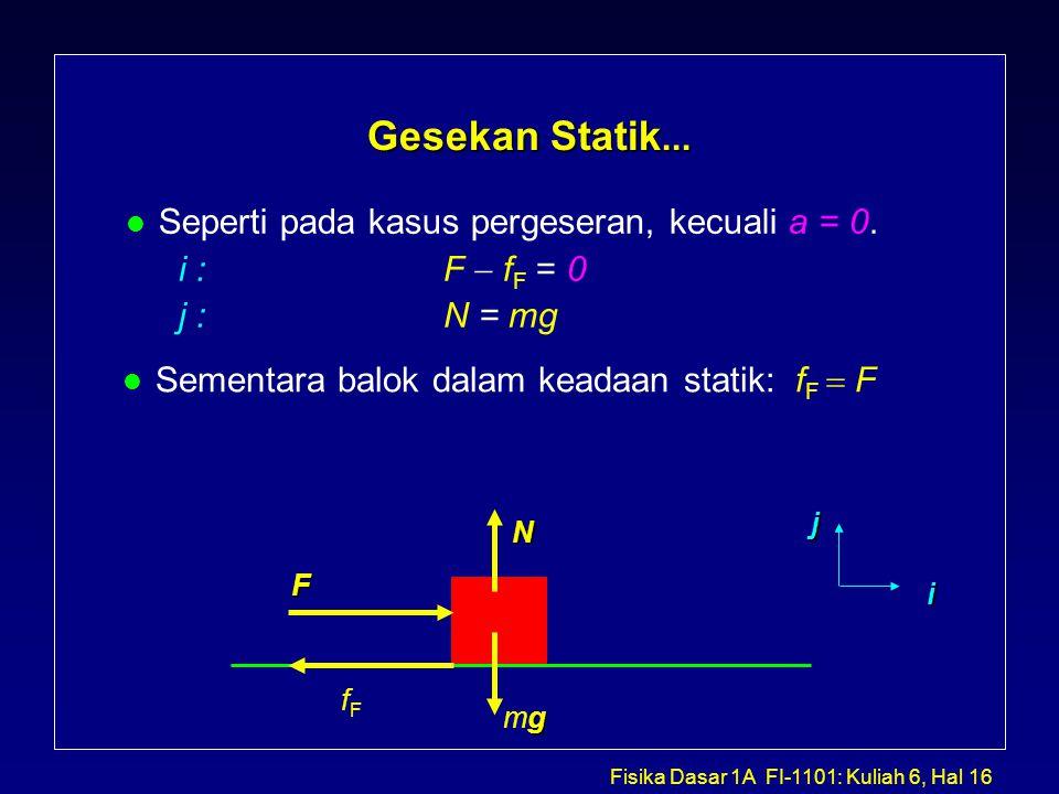 Fisika Dasar 1A FI-1101: Kuliah 6, Hal 16 Gesekan Statik...