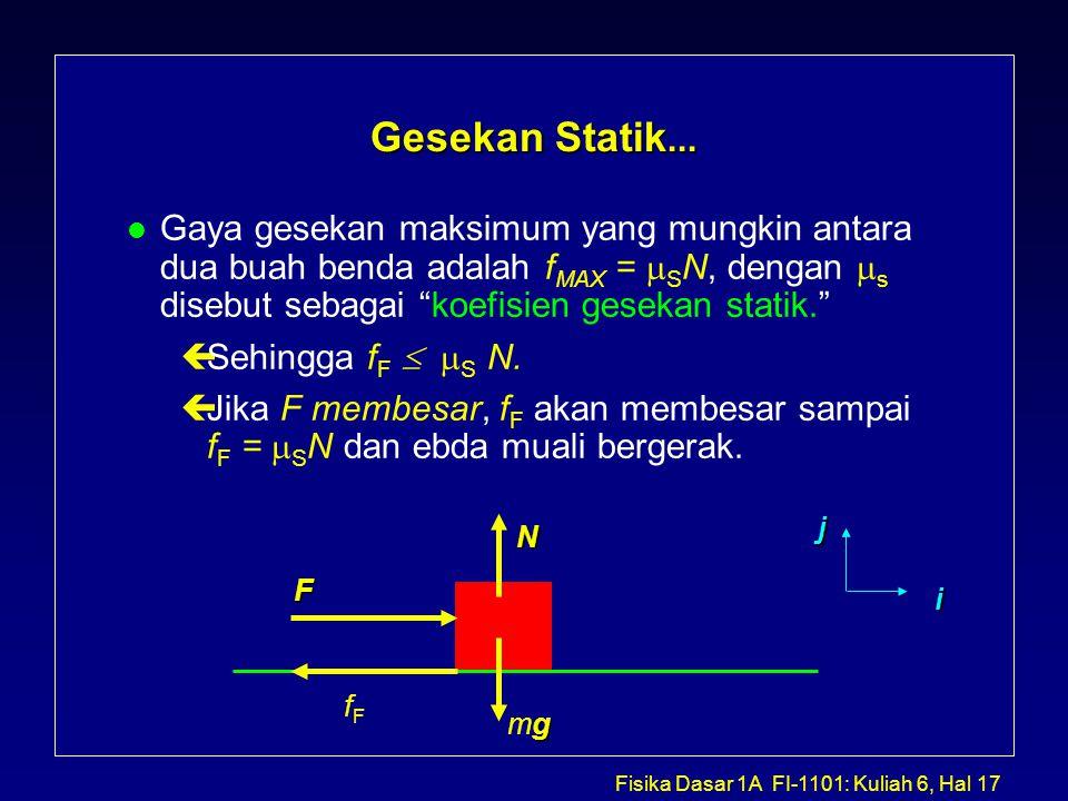 Fisika Dasar 1A FI-1101: Kuliah 6, Hal 17 Gesekan Statik...