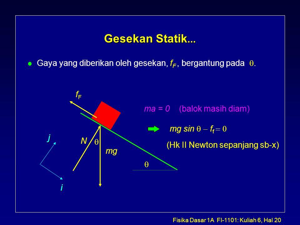 Fisika Dasar 1A FI-1101: Kuliah 6, Hal 20 Gesekan Statik...