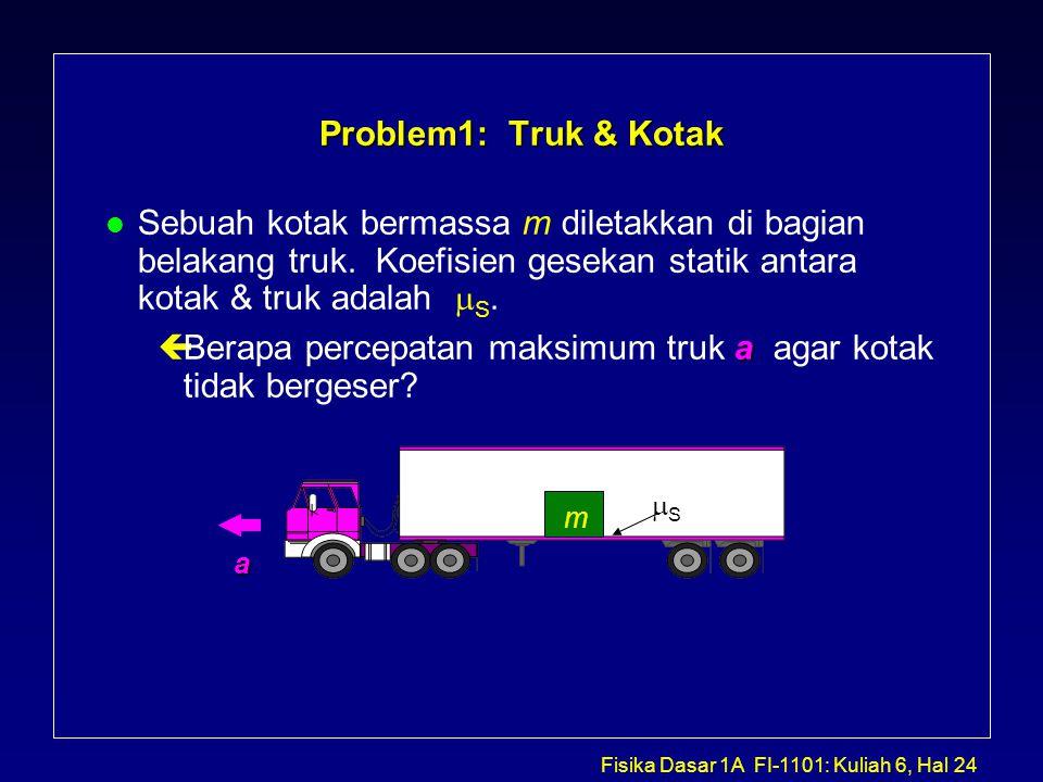 Fisika Dasar 1A FI-1101: Kuliah 6, Hal 24 Problem1: Truk & Kotak Sebuah kotak bermassa m diletakkan di bagian belakang truk.