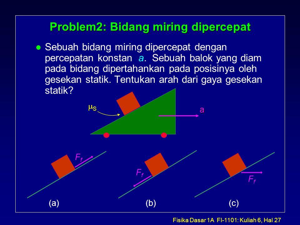 Fisika Dasar 1A FI-1101: Kuliah 6, Hal 27 Problem2: Bidang miring dipercepat l Sebuah bidang miring dipercepat dengan percepatan konstan a.