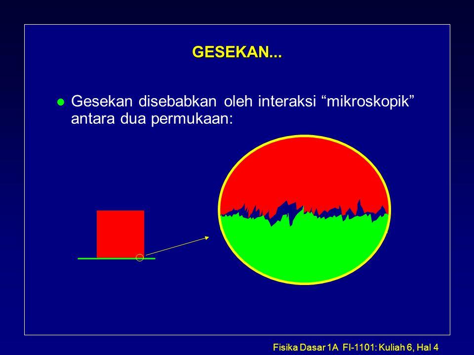 Fisika Dasar 1A FI-1101: Kuliah 6, Hal 25 Problem1: Truk & Kotak l Gambar diagram benda bebas untuk kotak: çTinjau kasus dimana f F adalah maksimum...