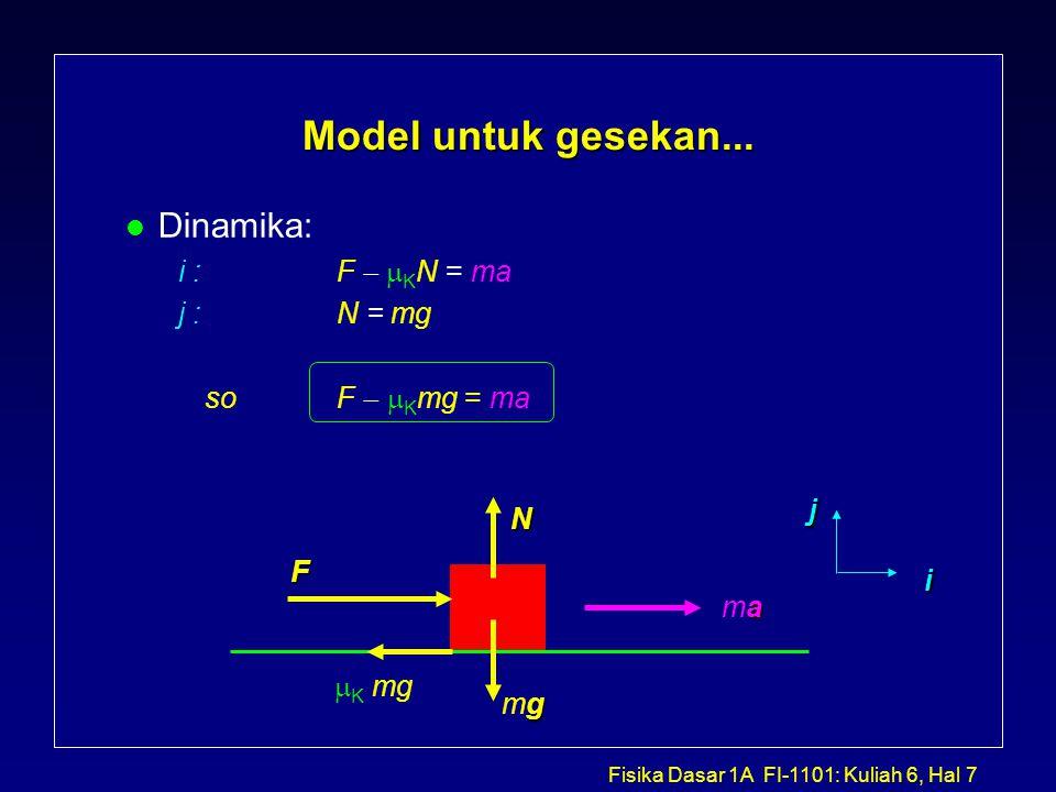 Fisika Dasar 1A FI-1101: Kuliah 6, Hal 8 Contoh: Gesekan dan Gerak Sebuah kotak bermassa m 1 = 1.5 kg ditarik arah sejajar dengan tali yang memiliki tegangan T = 90 N.