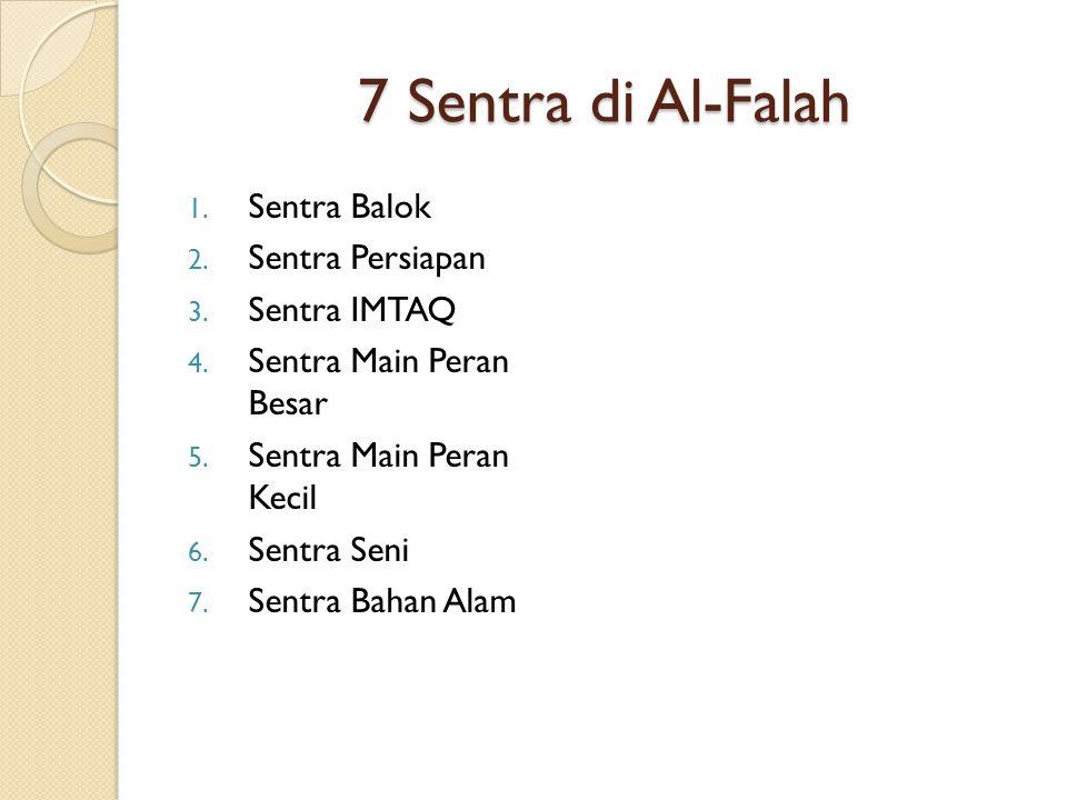 7 Sentra di Al-Falah 1. Sentra Balok 2. Sentra Persiapan 3. Sentra IMTAQ 4. Sentra Main Peran Besar 5. Sentra Main Peran Kecil 6. Sentra Seni 7. Sentr