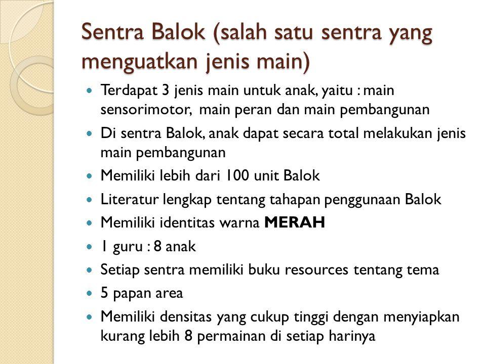 Sentra Balok (salah satu sentra yang menguatkan jenis main) Terdapat 3 jenis main untuk anak, yaitu : main sensorimotor, main peran dan main pembangun