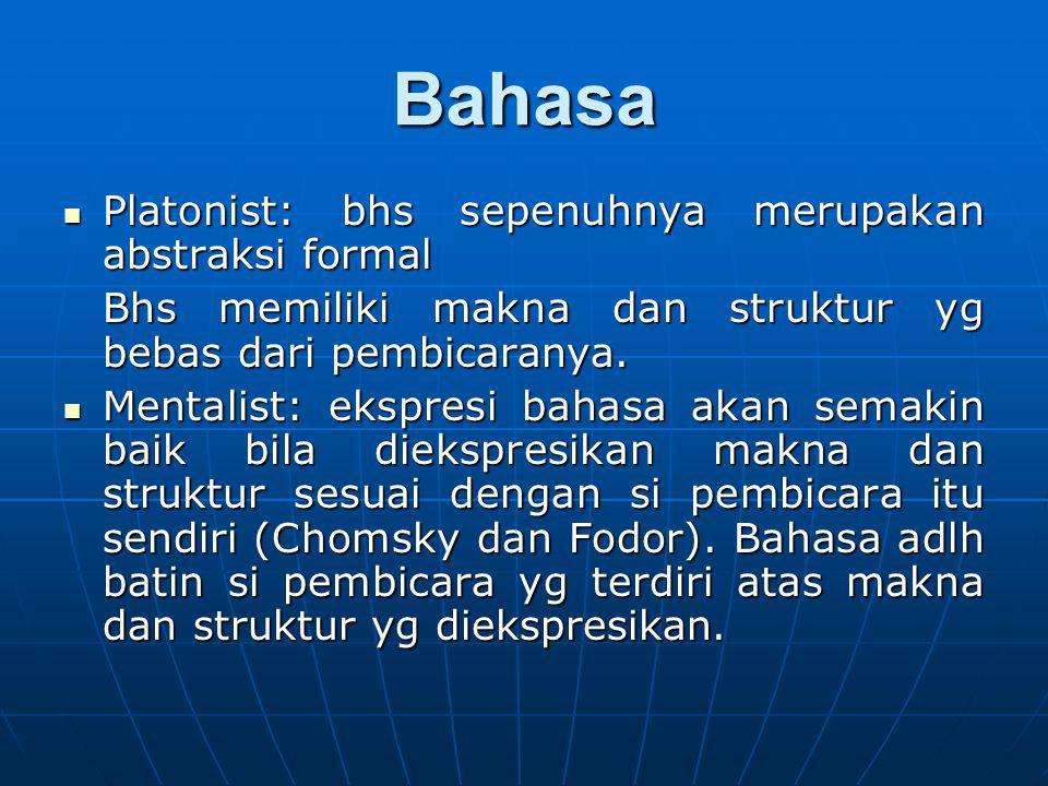 Bahasa Platonist: bhs sepenuhnya merupakan abstraksi formal Platonist: bhs sepenuhnya merupakan abstraksi formal Bhs memiliki makna dan struktur yg be