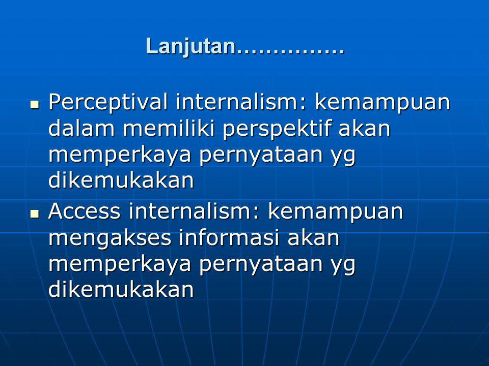 Lanjutan…………… Perceptival internalism: kemampuan dalam memiliki perspektif akan memperkaya pernyataan yg dikemukakan Perceptival internalism: kemampua