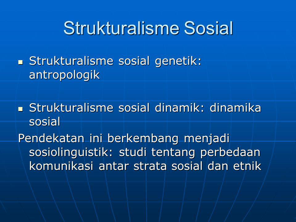 Strukturalisme Sosial Strukturalisme sosial genetik: antropologik Strukturalisme sosial genetik: antropologik Strukturalisme sosial dinamik: dinamika