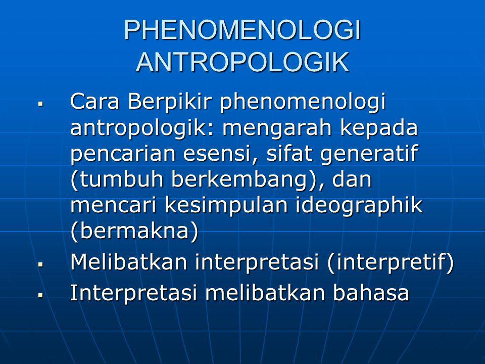PHENOMENOLOGI ANTROPOLOGIK  Cara Berpikir phenomenologi antropologik: mengarah kepada pencarian esensi, sifat generatif (tumbuh berkembang), dan menc