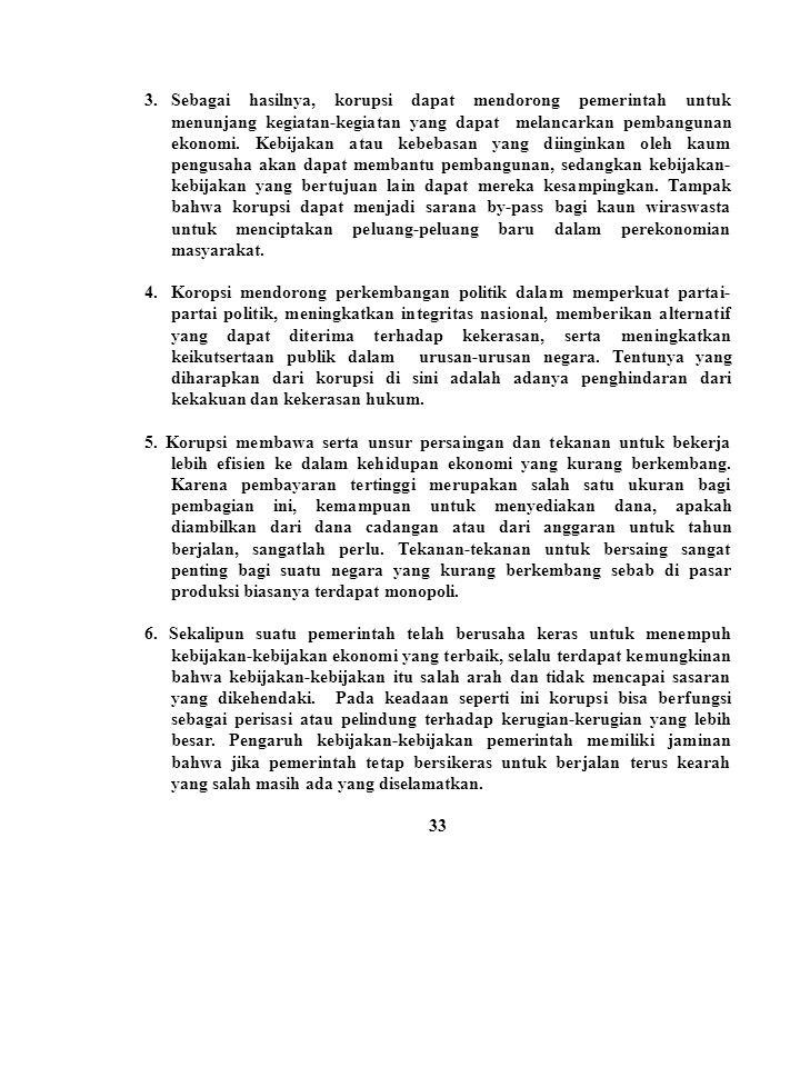3.Sebagai hasilnya, korupsi dapat mendorong pemerintah untuk menunjang kegiatan-kegiatan yang dapat melancarkan pembangunan ekonomi. Kebijakan atau ke