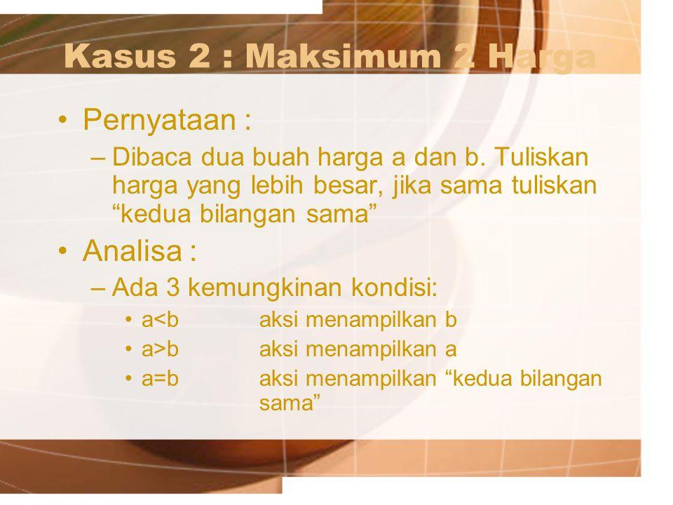 "Kasus 2 : Maksimum 2 Harga Pernyataan : –Dibaca dua buah harga a dan b. Tuliskan harga yang lebih besar, jika sama tuliskan ""kedua bilangan sama"" Anal"