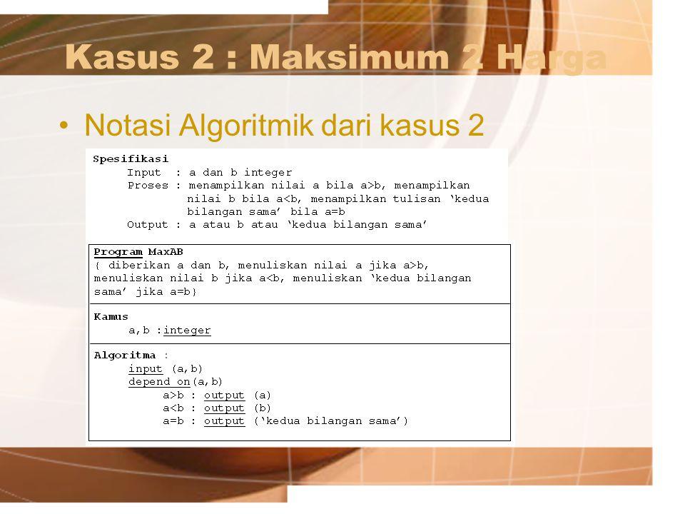Kasus 2 : Maksimum 2 Harga Notasi Algoritmik dari kasus 2