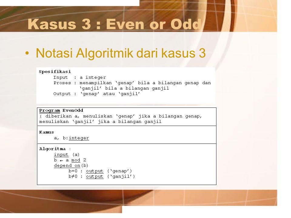 Kasus 3 : Even or Odd Notasi Algoritmik dari kasus 3