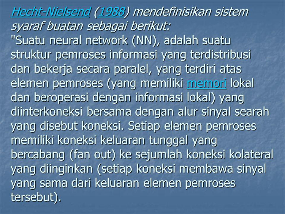 Hecht-NielsendHecht-Nielsend (1988) mendefinisikan sistem syaraf buatan sebagai berikut: