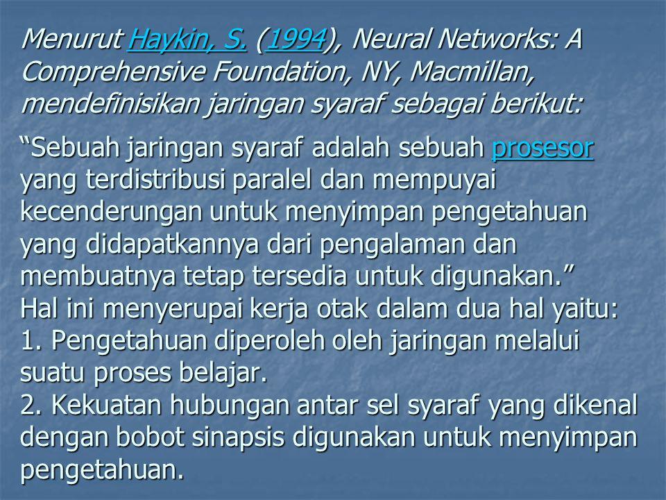 """Menurut Haykin, S. (1994), Neural Networks: A Comprehensive Foundation, NY, Macmillan, mendefinisikan jaringan syaraf sebagai berikut: """"Sebuah jaringa"""