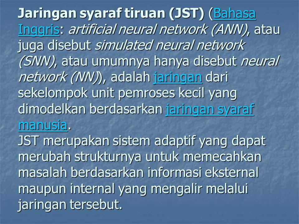 Jaringan syaraf tiruan (JST) (Bahasa Inggris: artificial neural network (ANN), atau juga disebut simulated neural network (SNN), atau umumnya hanya di
