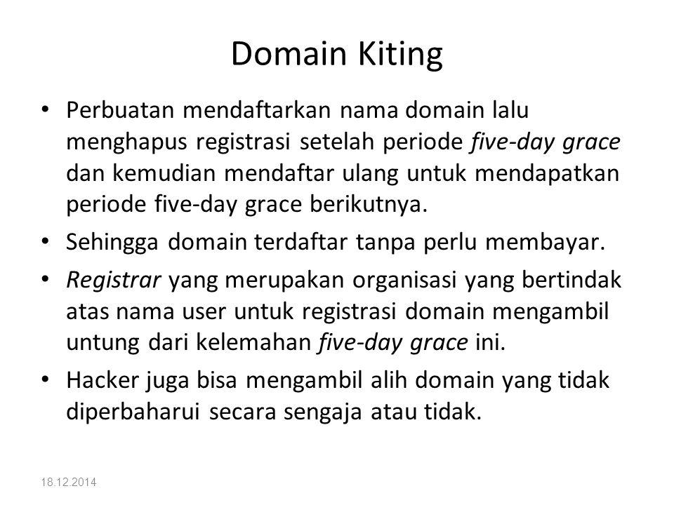 18.12.2014 Domain Kiting Perbuatan mendaftarkan nama domain lalu menghapus registrasi setelah periode five-day grace dan kemudian mendaftar ulang untu
