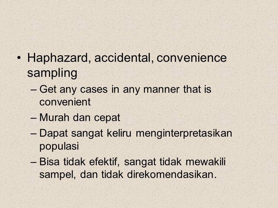Haphazard, accidental, convenience sampling –Get any cases in any manner that is convenient –Murah dan cepat –Dapat sangat keliru menginterpretasikan