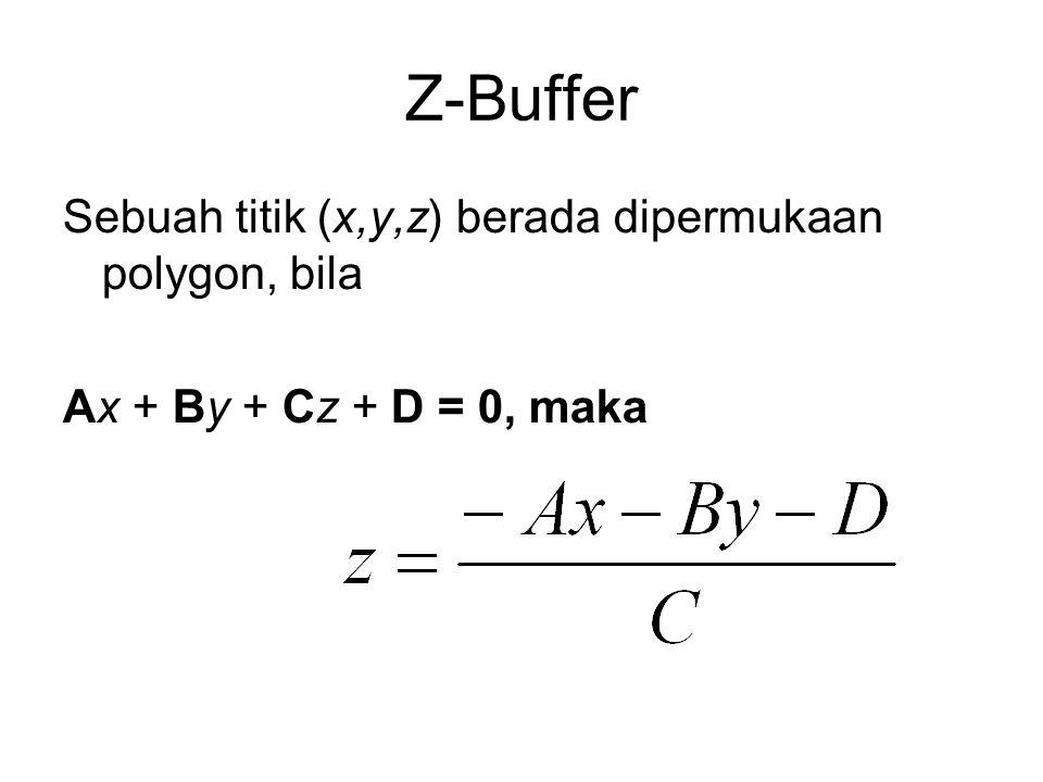 Z-Buffer Sebuah titik (x,y,z) berada dipermukaan polygon, bila Ax + By + Cz + D = 0, maka