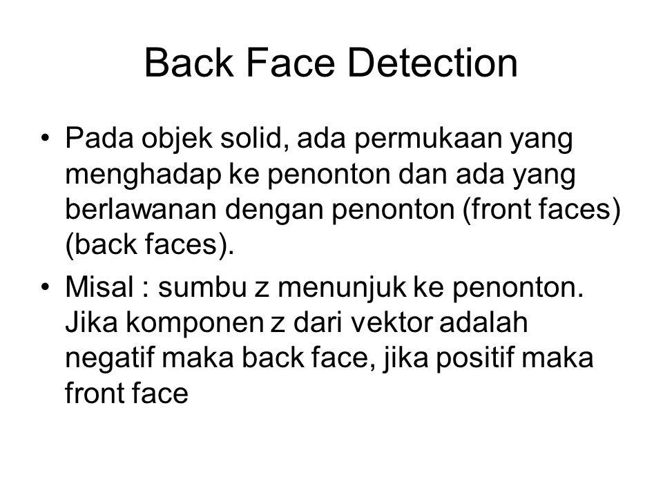 Back Face Detection Pada objek solid, ada permukaan yang menghadap ke penonton dan ada yang berlawanan dengan penonton (front faces) (back faces). Mis