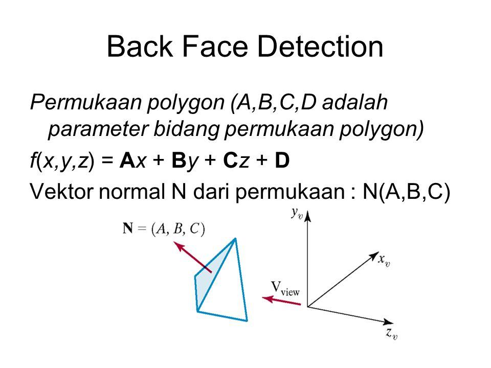Back Face Detection Permukaan polygon (A,B,C,D adalah parameter bidang permukaan polygon) f(x,y,z) = Ax + By + Cz + D Vektor normal N dari permukaan :