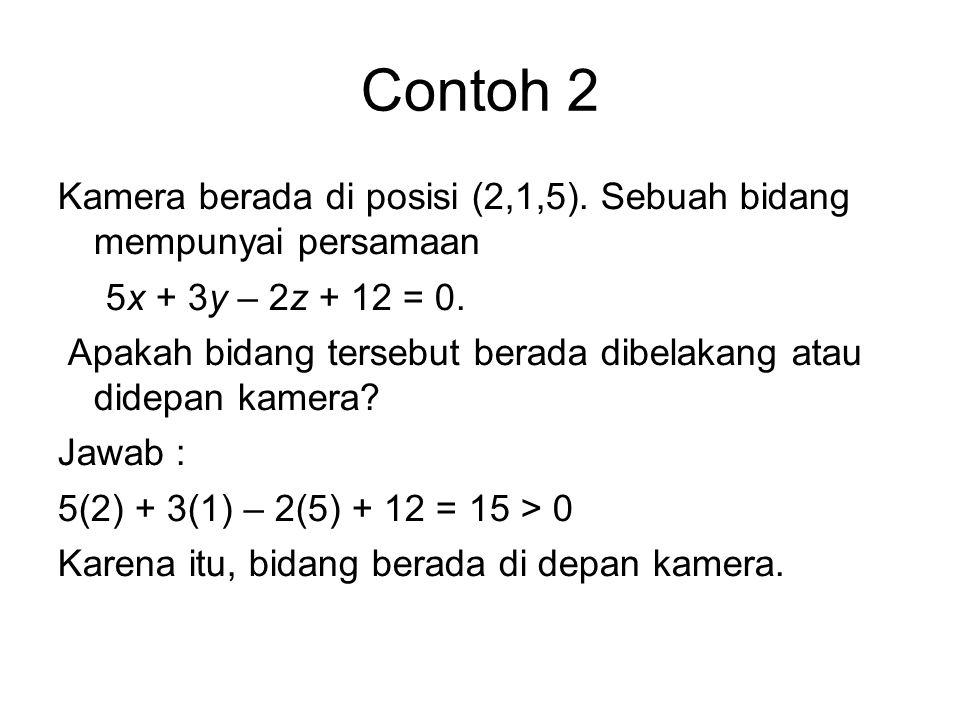 Contoh 2 Kamera berada di posisi (2,1,5). Sebuah bidang mempunyai persamaan 5x + 3y – 2z + 12 = 0. Apakah bidang tersebut berada dibelakang atau didep