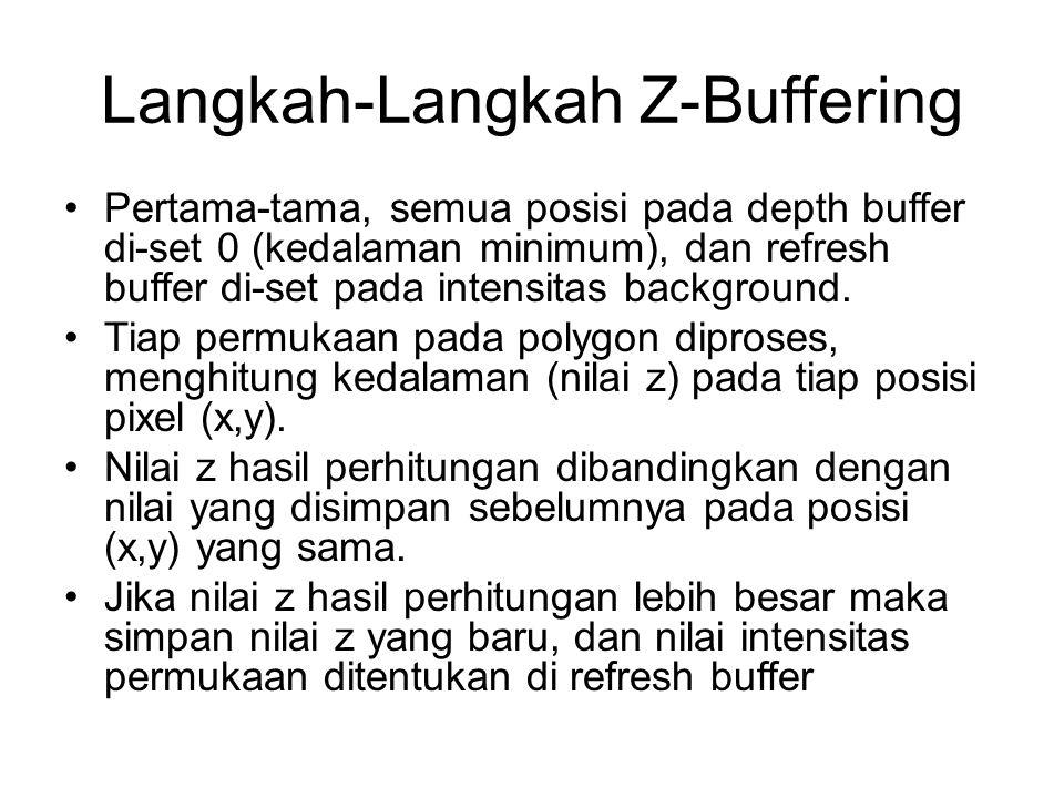 Langkah-Langkah Z-Buffering Pertama-tama, semua posisi pada depth buffer di-set 0 (kedalaman minimum), dan refresh buffer di-set pada intensitas backg