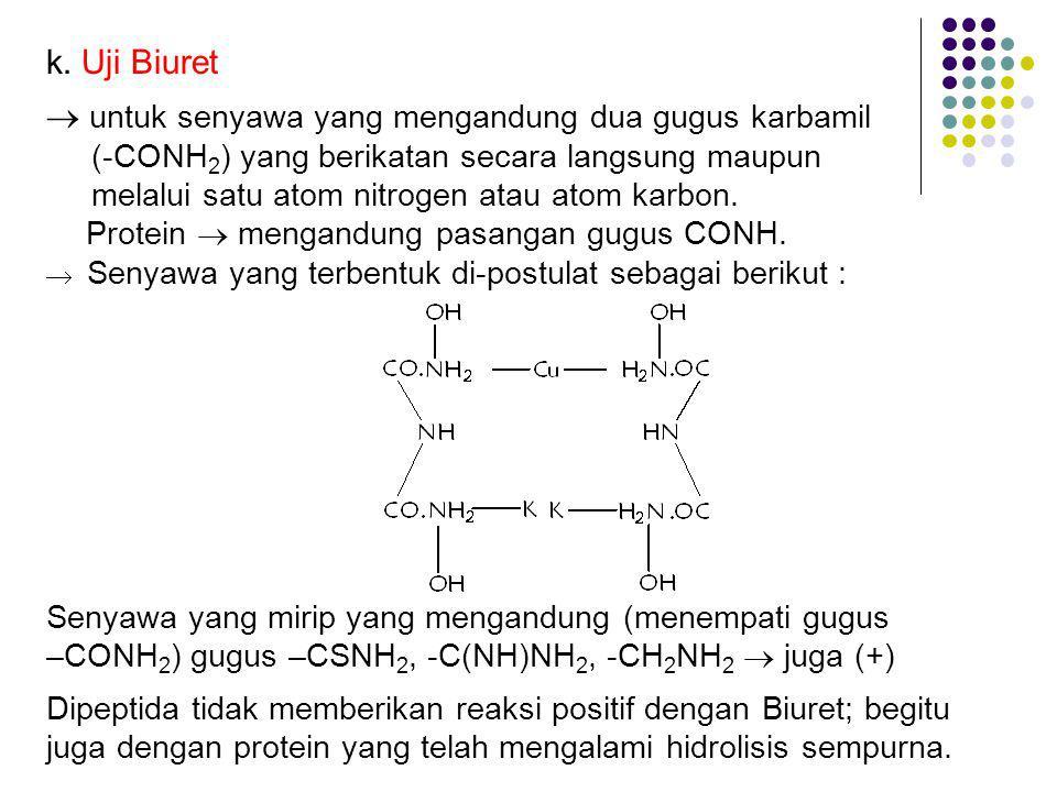 k. Uji Biuret  untuk senyawa yang mengandung dua gugus karbamil (-CONH 2 ) yang berikatan secara langsung maupun melalui satu atom nitrogen atau atom