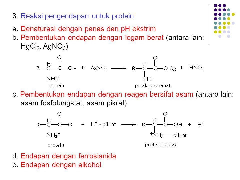 3. Reaksi pengendapan untuk protein a. Denaturasi dengan panas dan pH ekstrim b. Pembentukan endapan dengan logam berat (antara lain: HgCl 2, AgNO 3 )