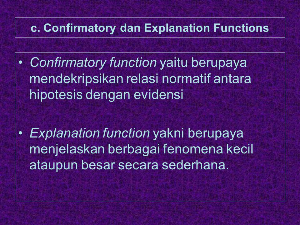 c. Confirmatory dan Explanation Functions Confirmatory function yaitu berupaya mendekripsikan relasi normatif antara hipotesis dengan evidensi Explana
