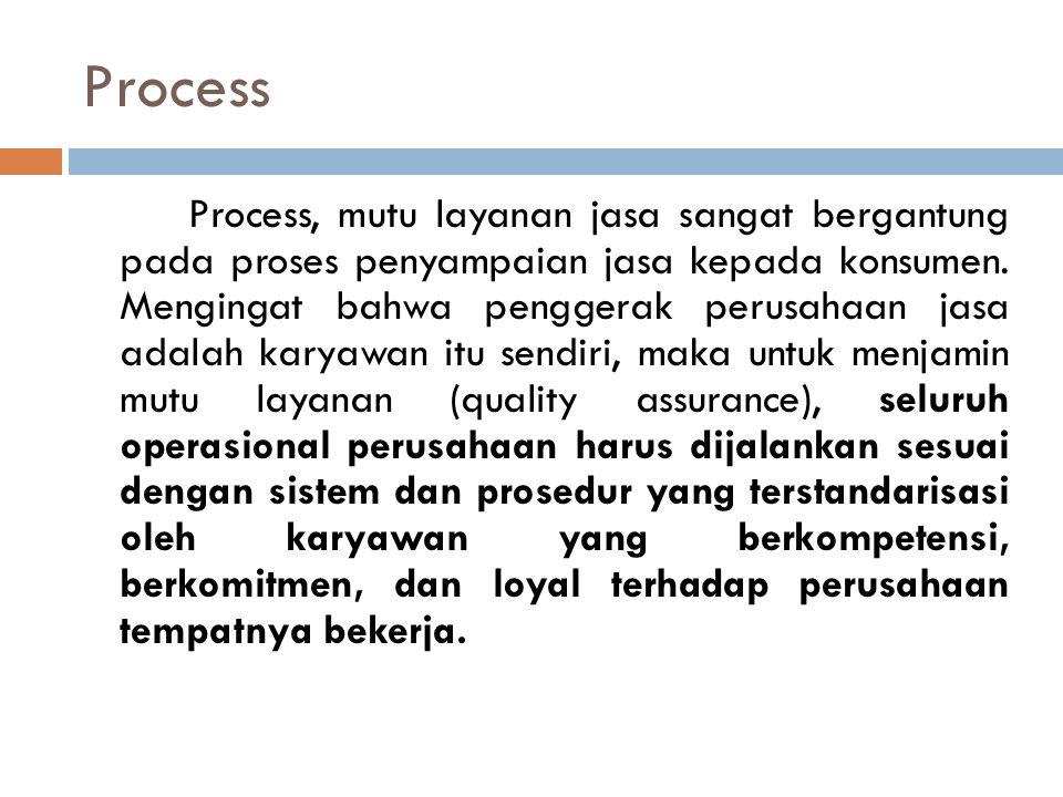Process Process, mutu layanan jasa sangat bergantung pada proses penyampaian jasa kepada konsumen. Mengingat bahwa penggerak perusahaan jasa adalah ka