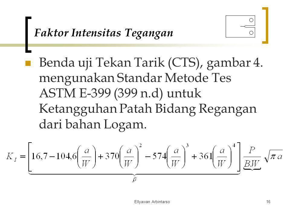 Ellyawan Arbintarso16 Faktor Intensitas Tegangan Benda uji Tekan Tarik (CTS), gambar 4. mengunakan Standar Metode Tes ASTM E-399 (399 n.d) untuk Ketan