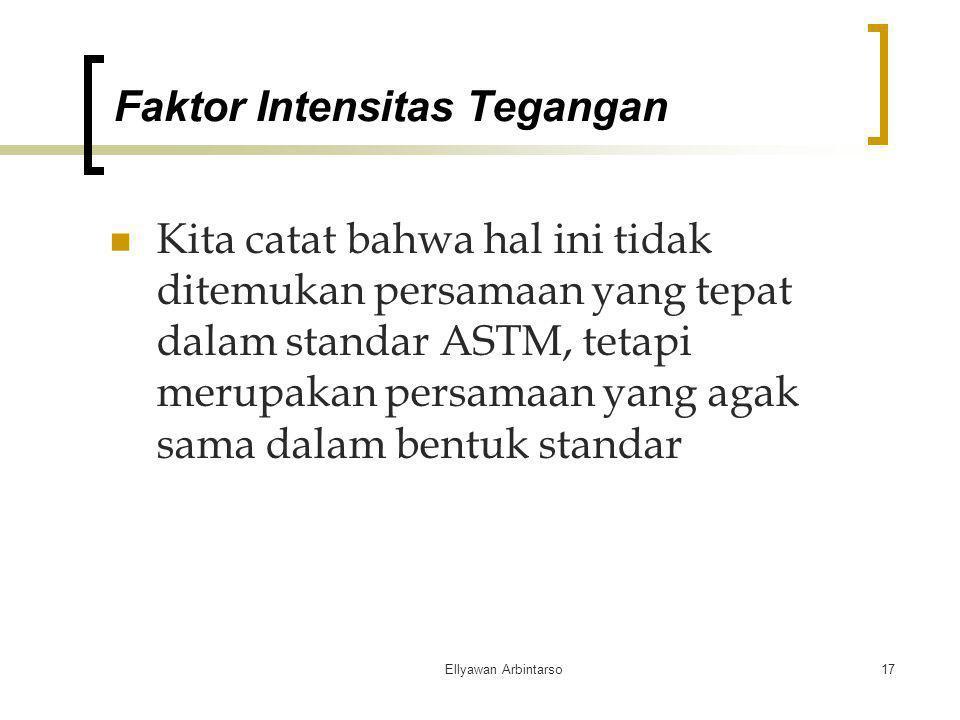 Ellyawan Arbintarso17 Kita catat bahwa hal ini tidak ditemukan persamaan yang tepat dalam standar ASTM, tetapi merupakan persamaan yang agak sama dala