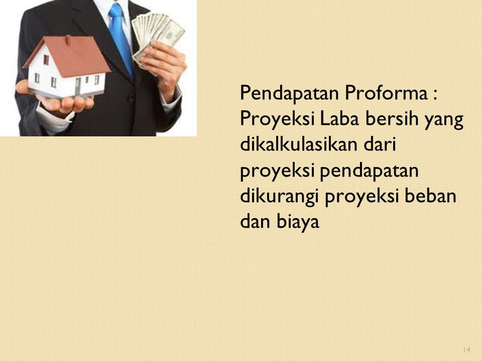 Pendapatan Proforma : Proyeksi Laba bersih yang dikalkulasikan dari proyeksi pendapatan dikurangi proyeksi beban dan biaya 14