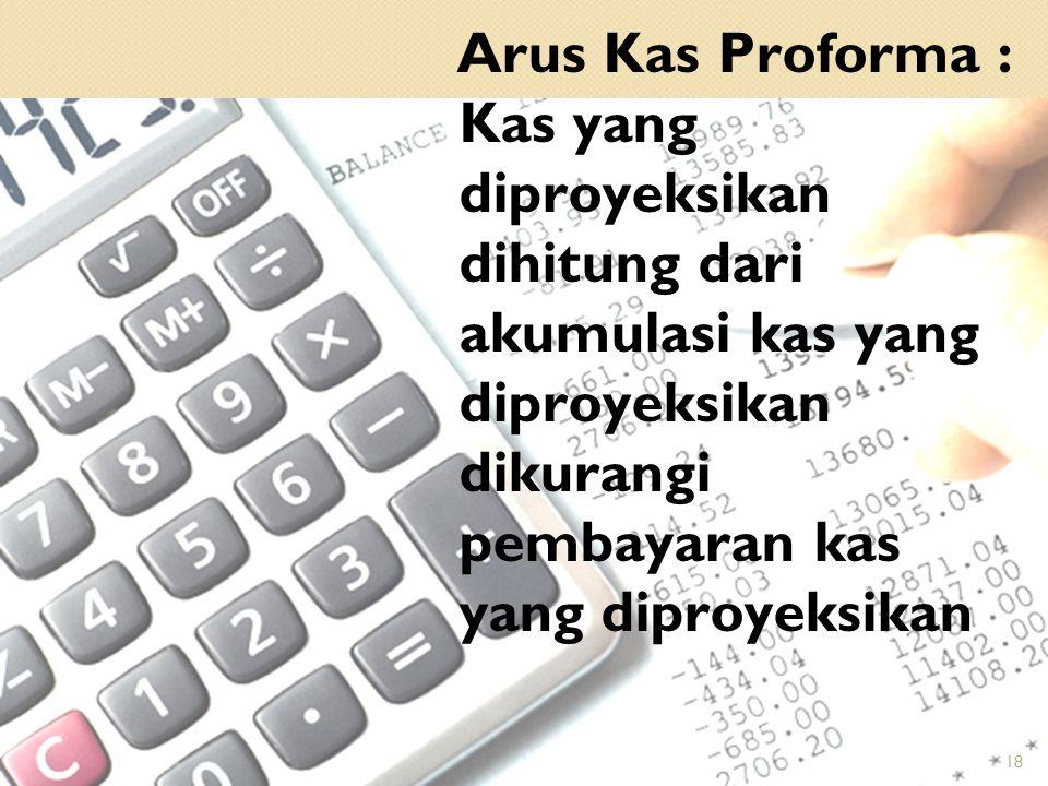 Arus Kas Proforma : Kas yang diproyeksikan dihitung dari akumulasi kas yang diproyeksikan dikurangi pembayaran kas yang diproyeksikan 18