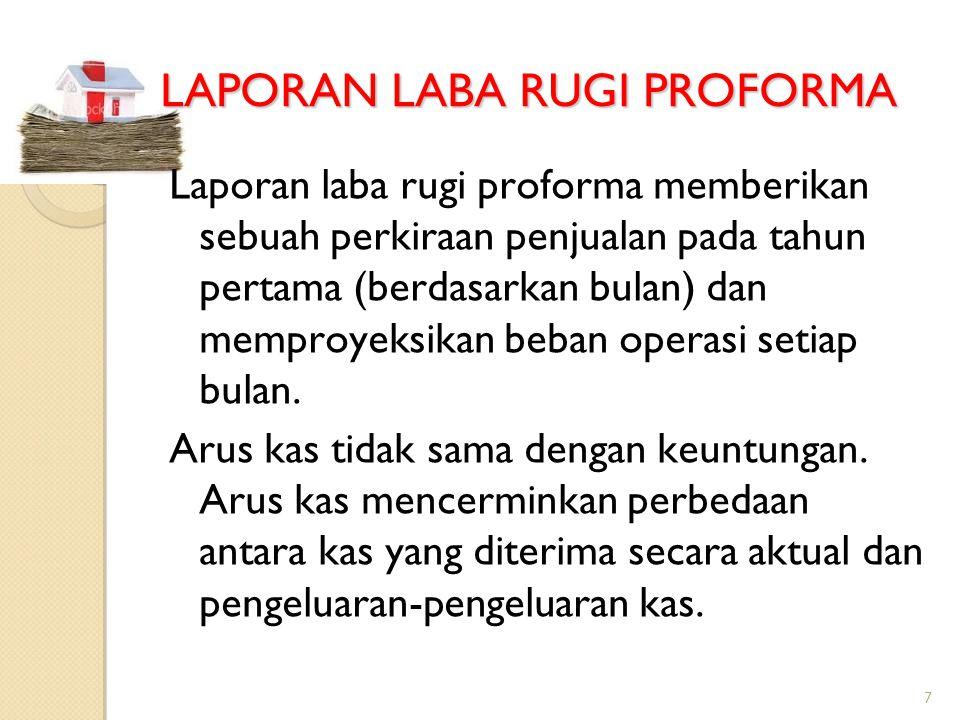 7 LAPORAN LABA RUGI PROFORMA Laporan laba rugi proforma memberikan sebuah perkiraan penjualan pada tahun pertama (berdasarkan bulan) dan memproyeksikan beban operasi setiap bulan.