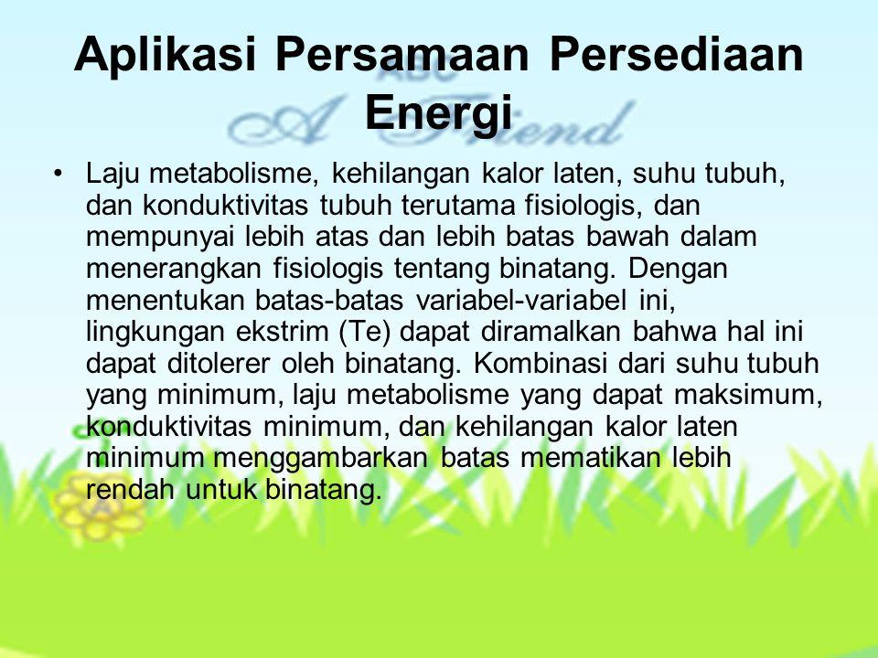 Aplikasi Persamaan Persediaan Energi Laju metabolisme, kehilangan kalor laten, suhu tubuh, dan konduktivitas tubuh terutama fisiologis, dan mempunyai
